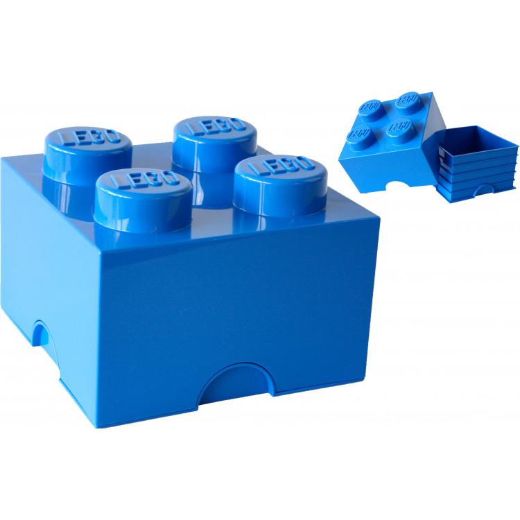 Lego Opbergbox - Brick 4 - 25 x 25 x 18 cm - 6 l - Blauw