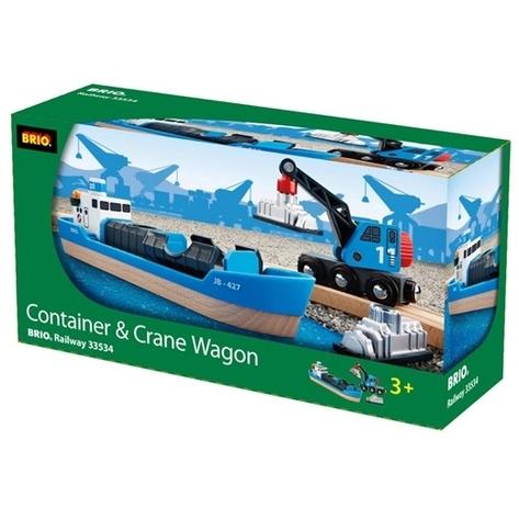 BRIO Containerschiff mit Kranwagen