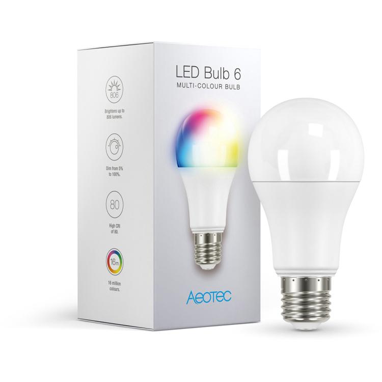Aeotec LED Bulb 6 Multi-Color ledlamp 2700 - 6500K, Dimbaar