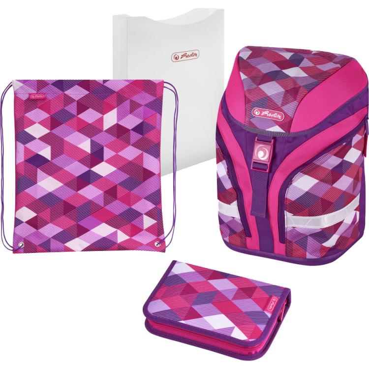 Herlitz Pink Cubes schooltasset Meisjes Polyester Roze