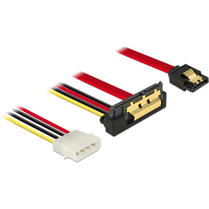 DeLOCK SATA 7 pin + Molex 4 pin power plug > SATA 22 pin haaks adapter