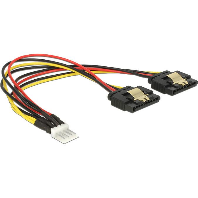 DeLOCK Power Floppy 4 pin male > 2 x SATA 15 pin female splitterkabel