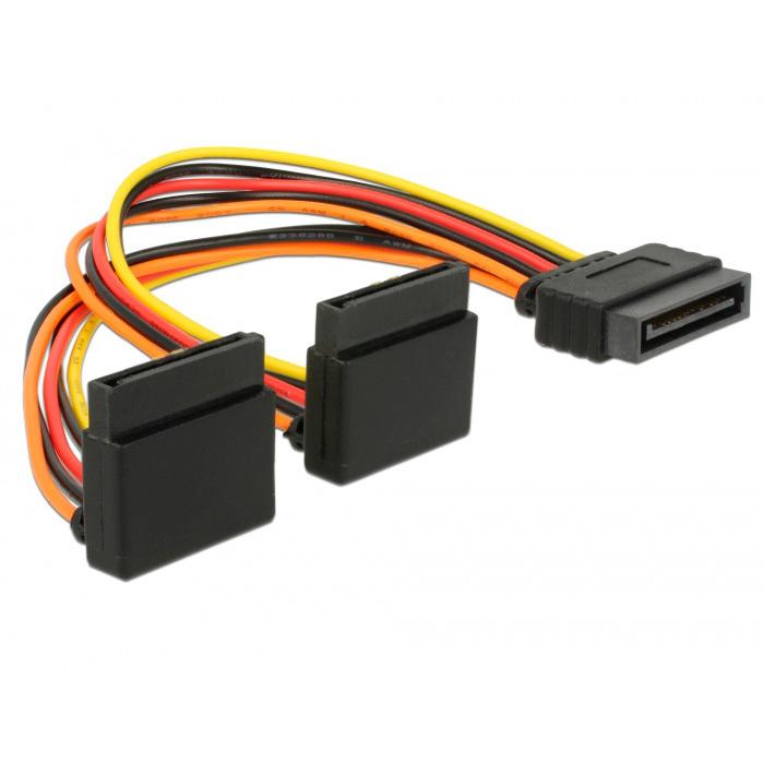 DeLOCK SATA 15 pin power > 2 x SATA 15 pin power kabel