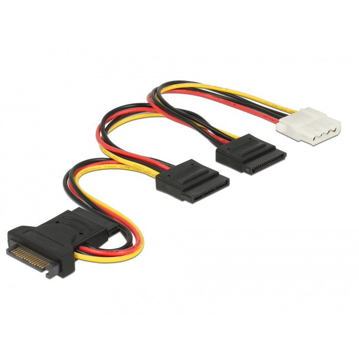 DeLOCK SATA 15 pin plug > 3 x SATA receptacle + 1 x Molex 4 pin female (PCB) kabel