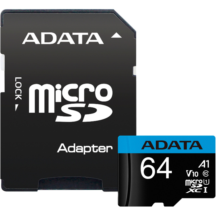 ADATA Premier microSDXC, 64 GB geheugenkaart UHS-I Class10 (A1, V10), incl. adapter