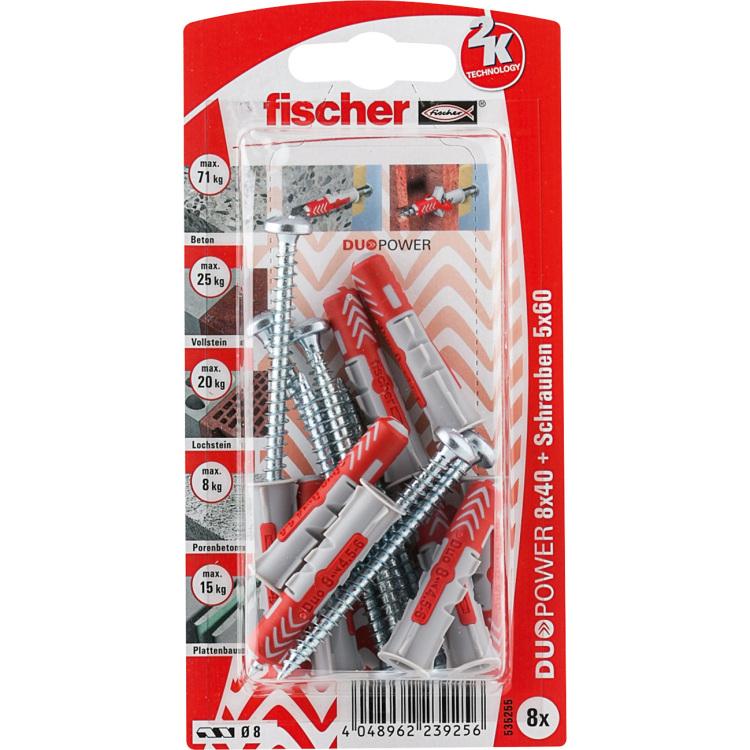 fischer Dübel DUOPOWER 8X40 S PH K DE plug