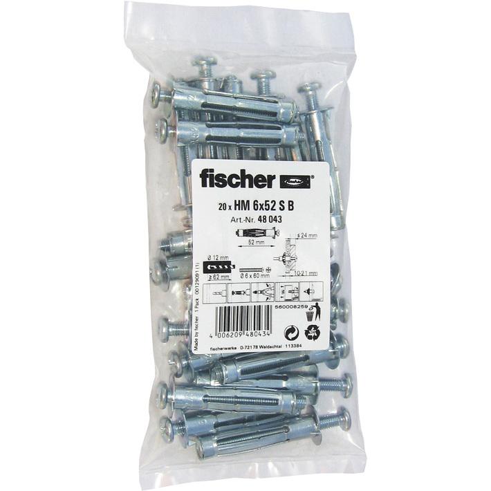 fischer Hohlraum-Metalldübel HM 6x52 S B 20 plug