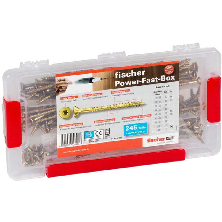 fischer Power-Fast Box 245 tlg. schroevenset