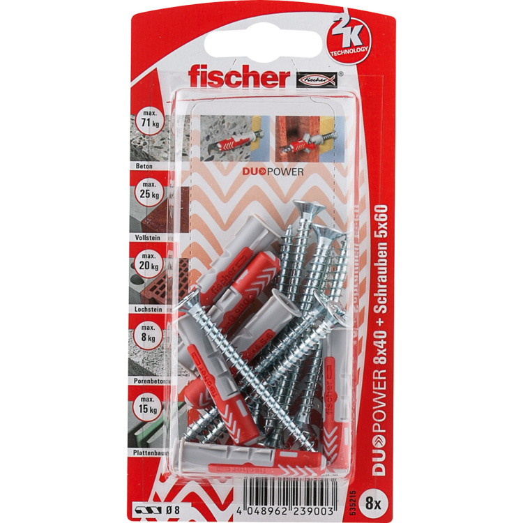 fischer Dübel DUOPOWER 8X40 S K DE plug