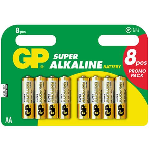 GP Batterij Super Type-AA Penlite 1,5volt 8stuks
