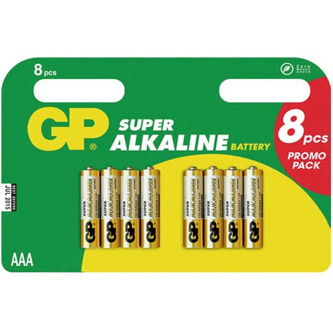 GP Batterij Super Type-AAA Minipenlite 1,5volt 8stuks