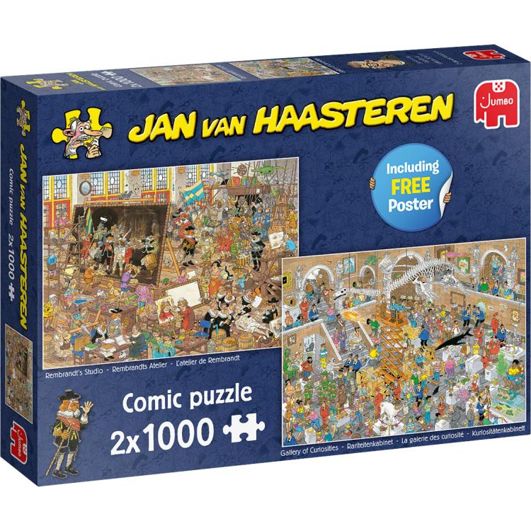 Alternate-Jumbo Jan van Haasteren - Een dagje naar het museum puzzels 2x 1000 stukjes + poster-aanbieding