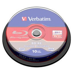 Image of 1x10 Verbatim BD-RE Blu-Ray 25GB 2x Speed, Cakebox