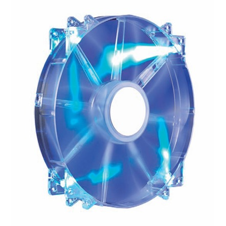 200x30mm,Sleeve,700rpm,Transprent Blue LED Silent Fan