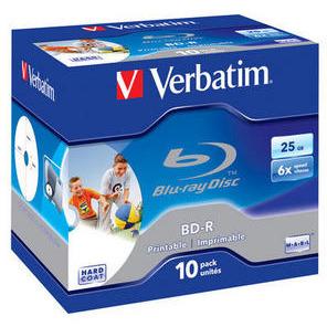 Image of 1x10 Verbatim BD-R Blu-Ray 25GB 6x Speed, printable, Jewel C