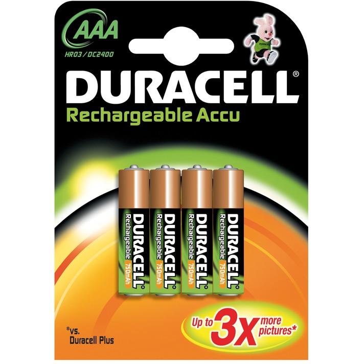 Duracell Oplaadbare Batterijen AAA 750 Mah 4x Pak