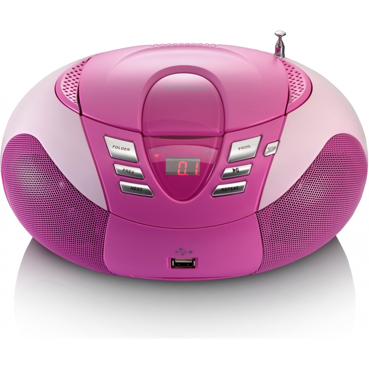 Lenco SCD-37 draagbare AM/FM radio met USB-poort roze