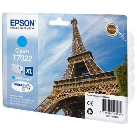 Epson T7022 XL Ink Cartridge Cyan (Blauw)