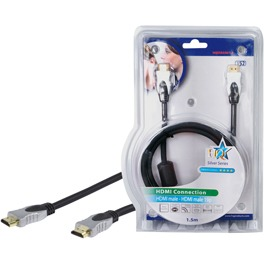 High Speed HDMI kabel met ethernet HDMI connector HDMI connector 0,50 m zwart