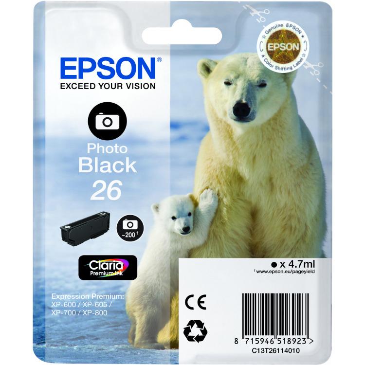 Epson 26 L Inktcartridge Foto Zwart