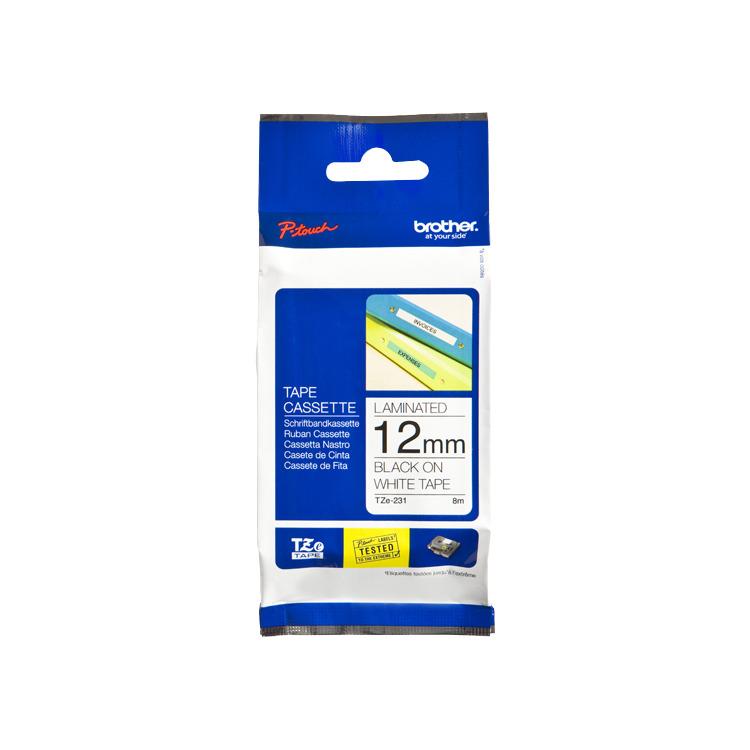 Image of 12mm Tape Zwart Op Wit TZ-231