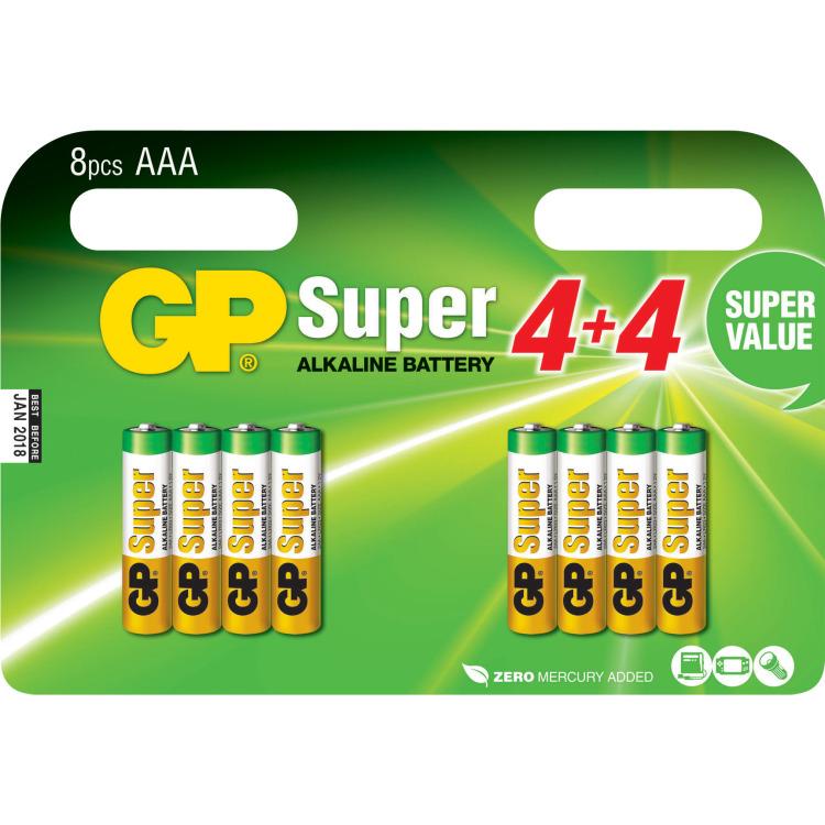GP Super Alkaline Valuepack 8x AAA