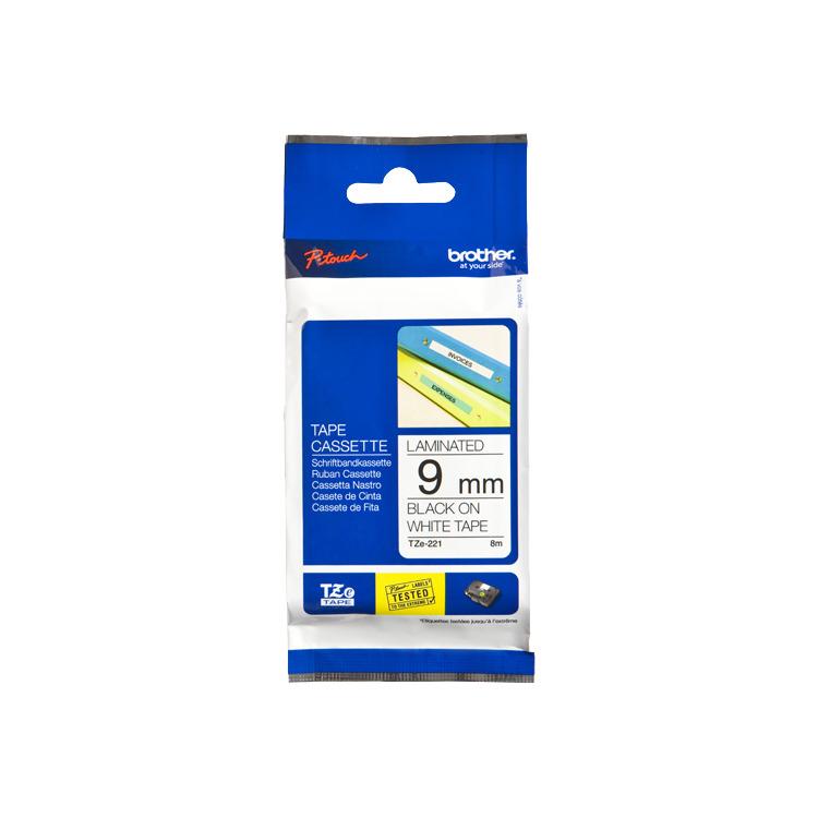 Image of 9mm Tape Zwart Op Wit TZ-211