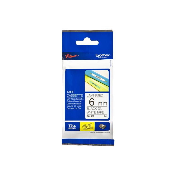 Image of 6mm Tape Zwart Op Wit TZ-211