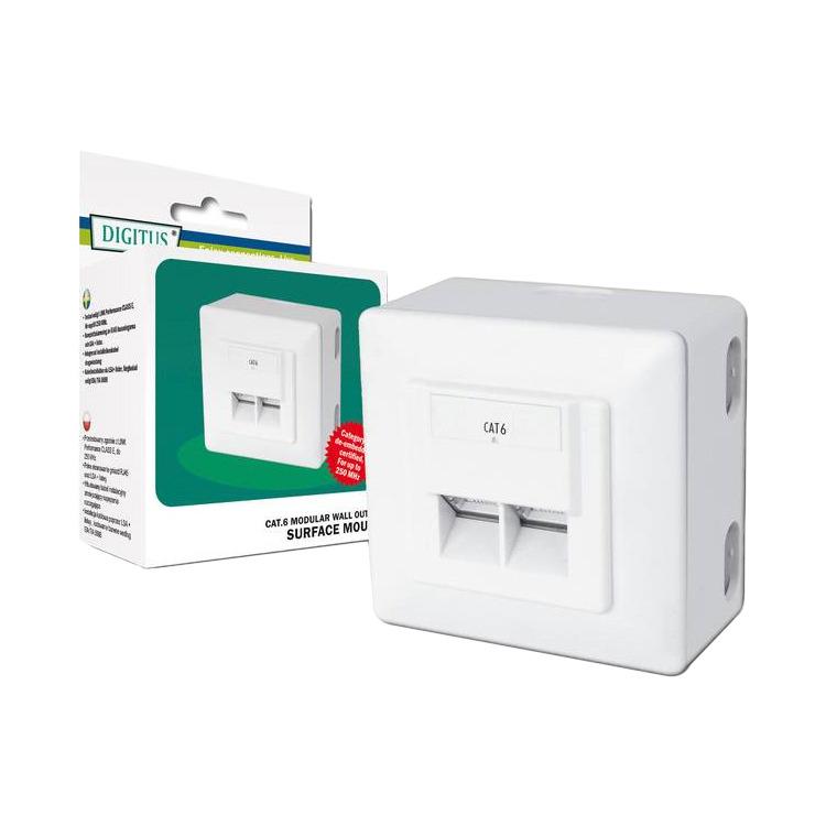 Wallmount met twee rj 45 cat.6 sockets. met deze wallmount kan je twee netwerk kabels in de muur weg werken. ...