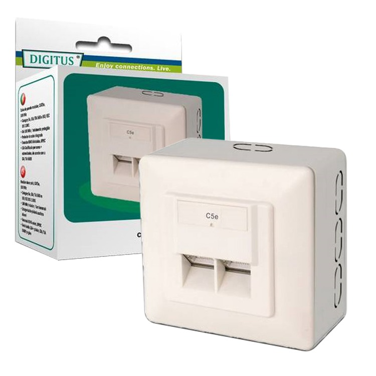 Diverse Data Wallmount CAT 5e opbouw  (Light-Retail, 2x RJ-45)