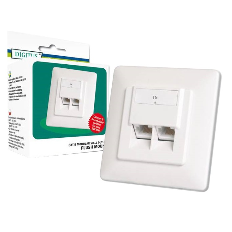 Diverse Data Wallmount CAT 5e inbouw  (Light-Retail, 2x RJ-45)
