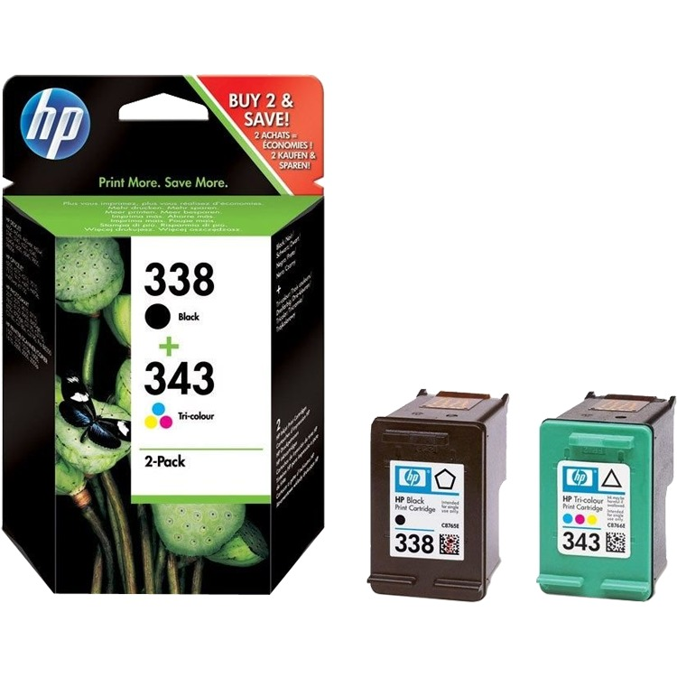 HP 338/343 Cartridge Zwart + Combo Pack 3-Kleuren (SD449EE)
