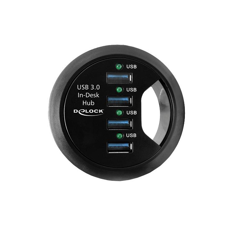 Delock - 4-Poorts USB 3.0 Tafel Hub - Zwart