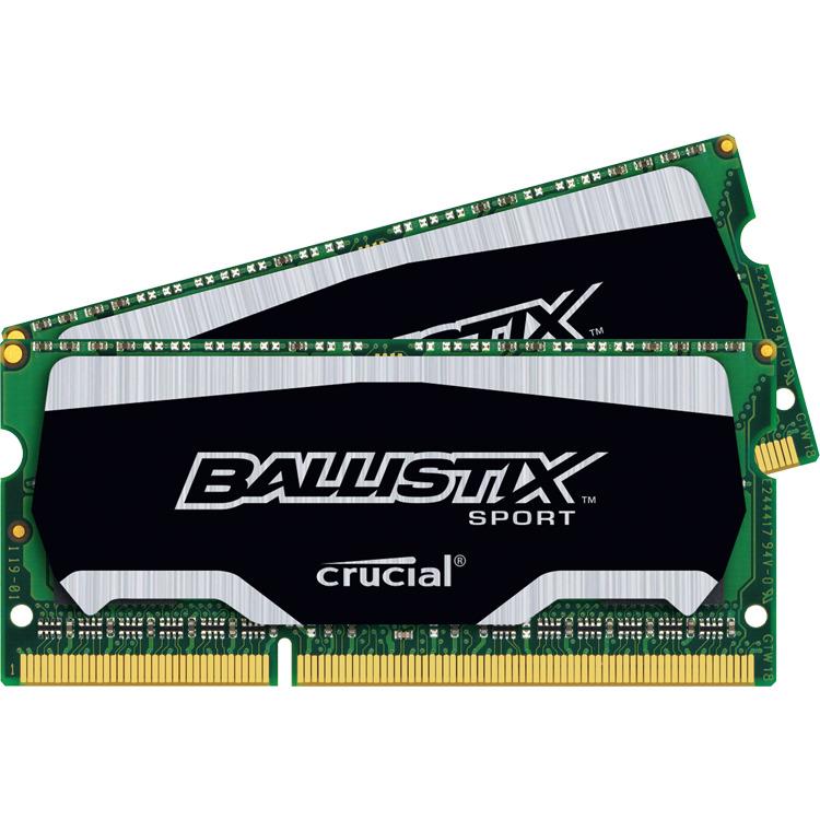 8GB Kit (4GBx2) DDR3 1600 MT/s (PC3-12800) CL9 @1.35V Ballistix Sport SODIMM 204pin
