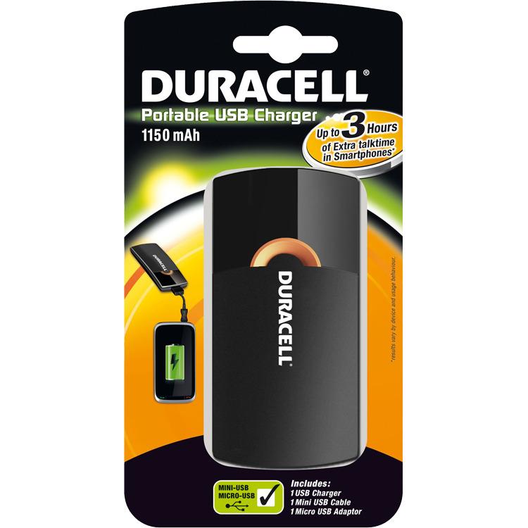 Duracell Oplaadbare Mobiele Oplader - zwart