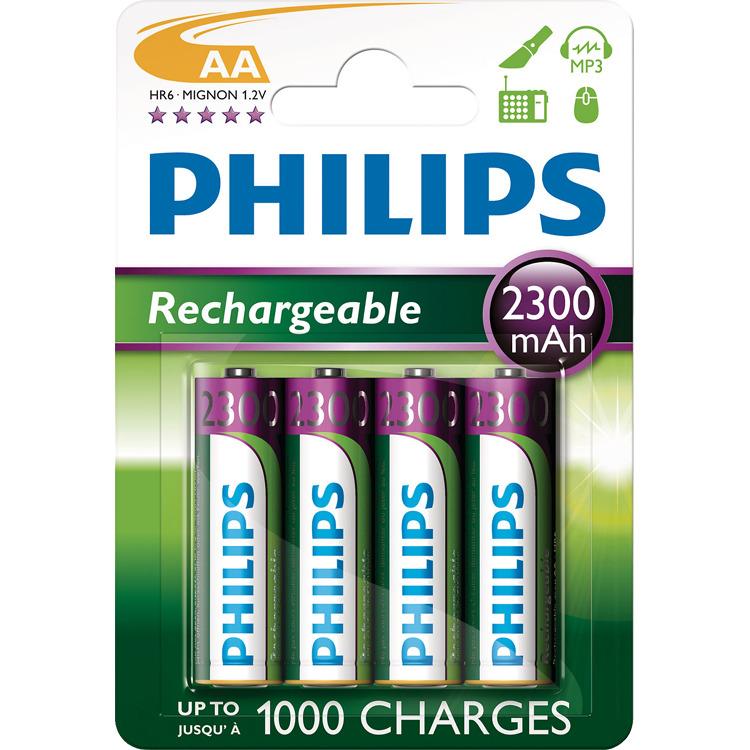 Philips R6B4A230/10 - AA 2300 mAh Oplaadbare Batterij AA 2300 mAh - 4 stuks