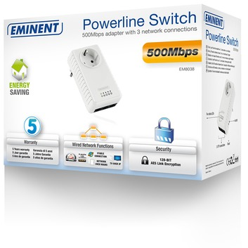 Eminent Powerline adapter Pass Through 500Mbps + 3 poort switch
