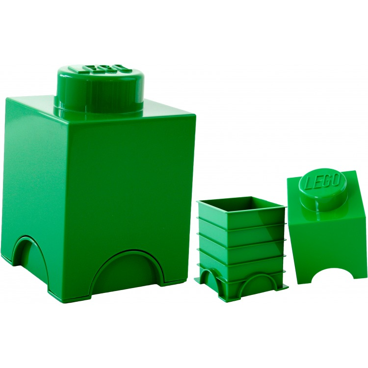 Lego Opbergbox - Brick 1 - 12,5 x 12,5 x 18 cm - 1,2 l - Donkergroen