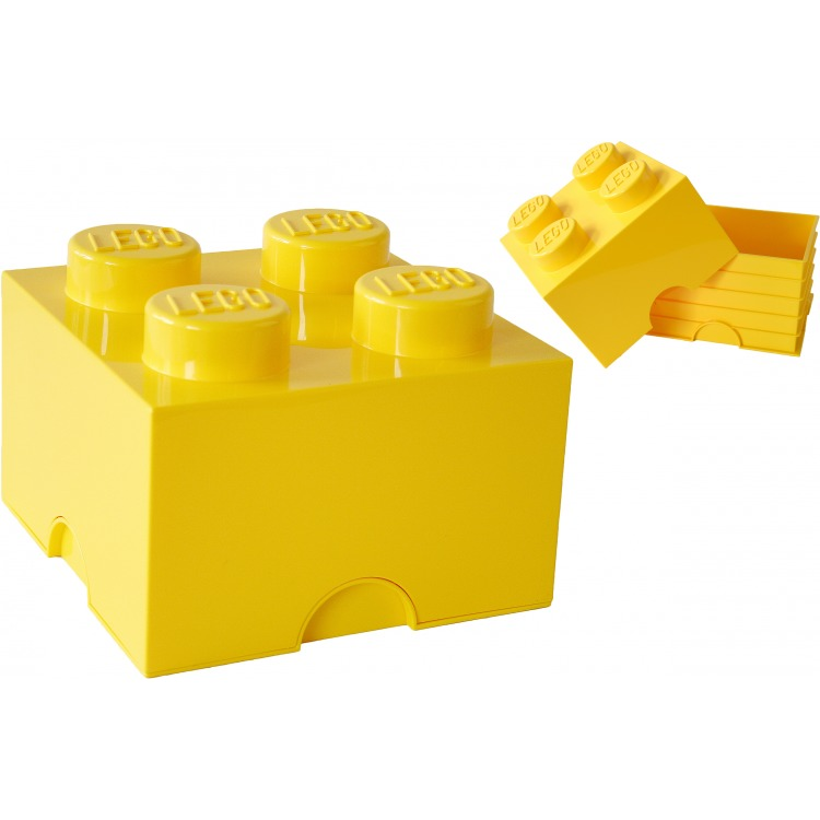 Lego Opbergbox - Brick 4 - 25 x 25 x 18 cm - 6 l - Geel