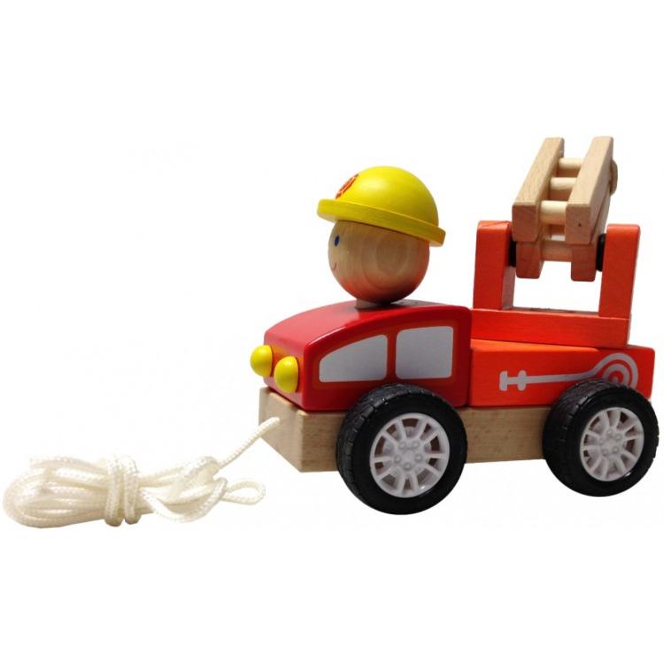 Image of Houten Trekautootje - Brandweerwagen