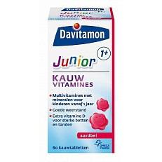 Image of Davitam Junior 1+ Kauwvit Aardbei 60 Stuks