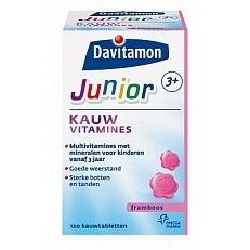 Image of Davitam Junior 3+ Kauwtabl Framboos 120stuks