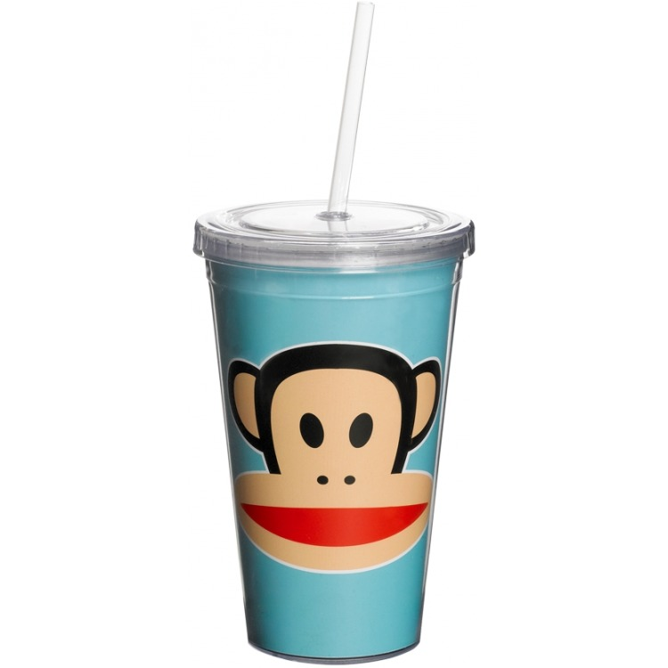 Paul Frank Drinkbeker - Incl rietje - 500 ml - Blauw