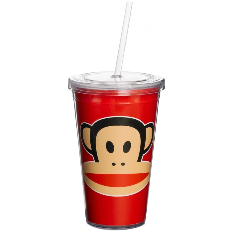Paul Frank Drinkbeker - Incl rietje - 500 ml - Rood