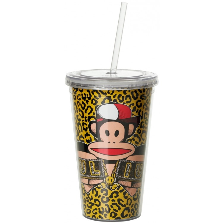 Paul Frank Drinkbeker - Incl rietje - 500 ml - J-Fresh - Geel
