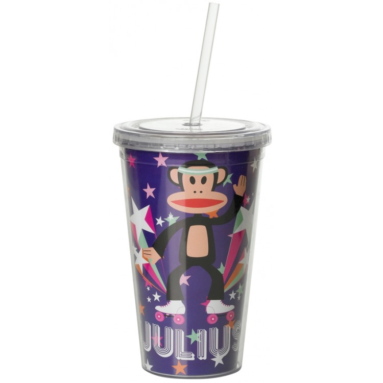 Paul Frank Drinkbeker - Incl rietje - 500 ml - Pop - Paars
