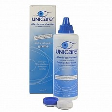 Image of Unicare Lenzenvloeistof Blauw Alles-in-een Voor Zachte Lenzen Met Gratis Lenshouder 240ml