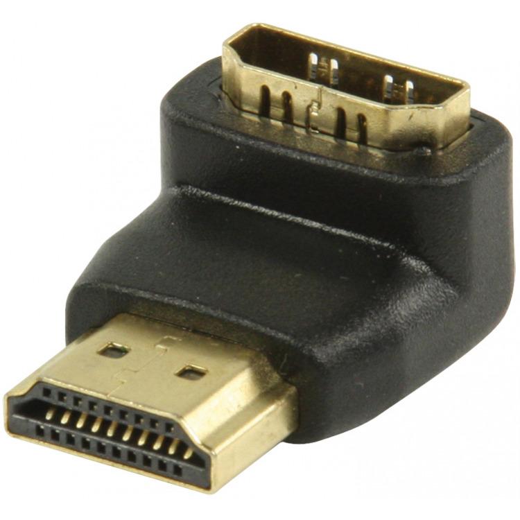 HDMI-adapter HDMI-connector 90° gehoekt HDMI input zwart