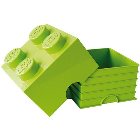 Lego Opbergbox - Brick 4 - 25 x 25 x 18 cm - 6 l - Limegroen