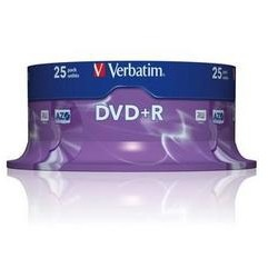 Image of 1x25 Verbatim DVD+R 4,7GB 16x Speed, Mat zilver